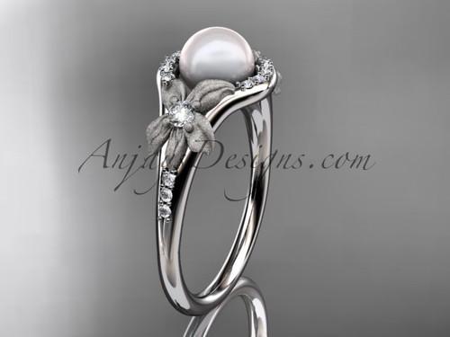 Platinum diamond pearl vine and leaf engagement ring AP91