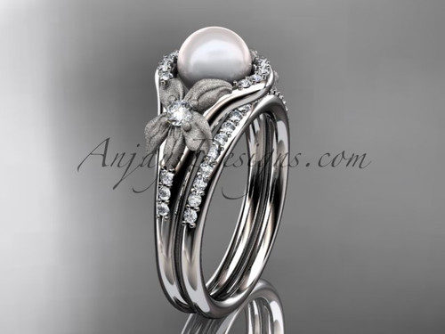 White Gold Diamond Pearl Vine and Leaf Engagement Wedding Set AP91S