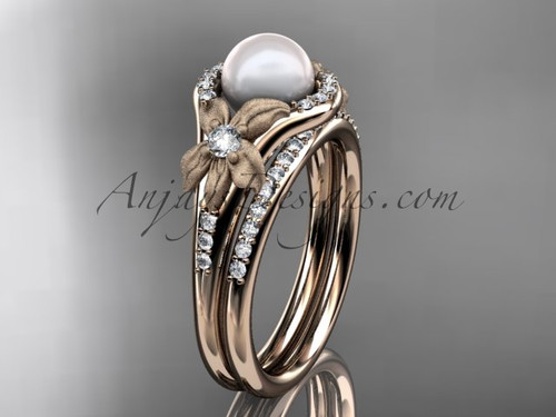 Rose  Gold Diamond Pearl Vine and Leaf Engagement Wedding Set AP91S