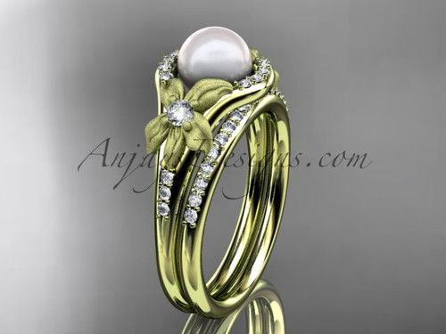 Yellow Gold Diamond Pearl Vine and Leaf Engagement Wedding Set AP91S