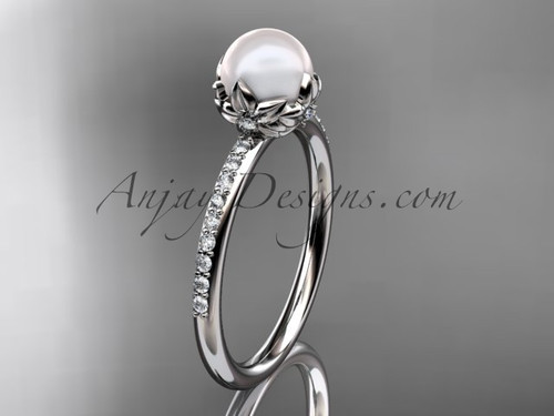 14k white gold diamond pearl vine and leaf engagement ring AP92