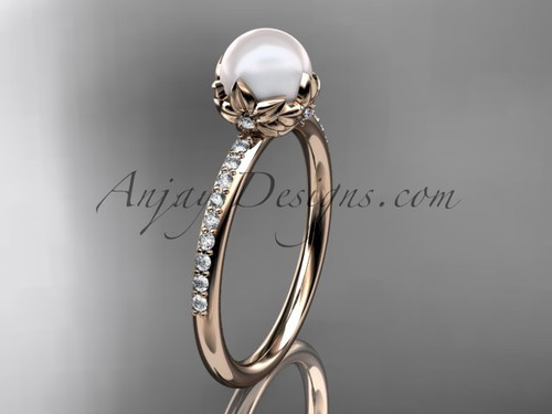 14k rose gold diamond pearl vine and leaf engagement ring AP92