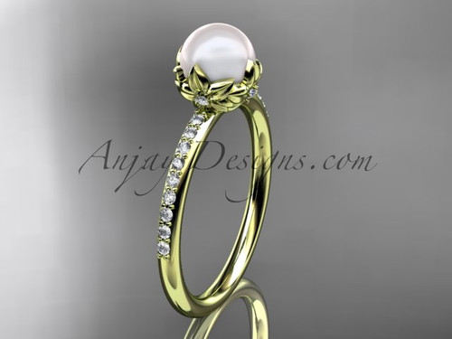 14k yellow gold diamond pearl vine and leaf engagement ring AP92