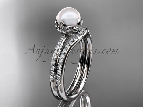 14k white gold diamond pearl unique engagement ring set AP92S