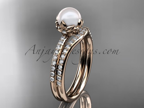 14k rose gold diamond pearl unique engagement ring set AP92S