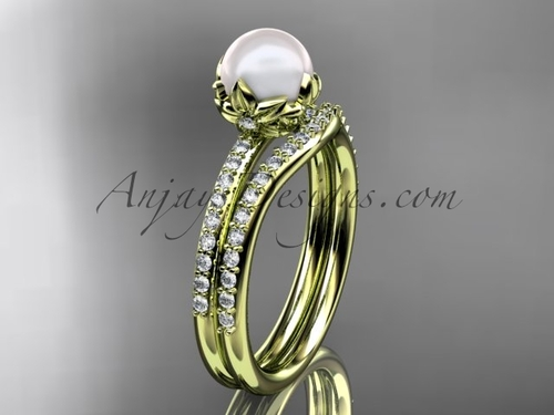 14k yellow gold diamond pearl unique engagement ring set AP92S