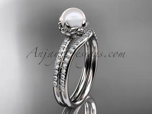 Platinum diamond pearl unique engagement ring set AP92S