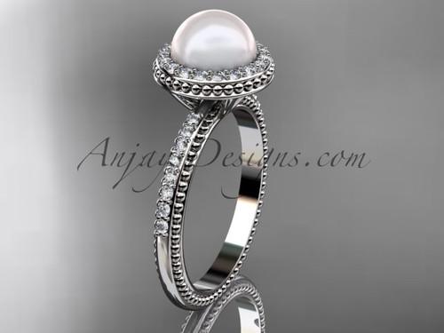 Vintage Pearl engagement rings white gold diamond halo wedding ring AP95