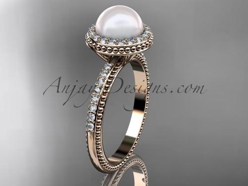 Vintage Pearl Engagement Rings Rose Gold Wedding Ring AP95