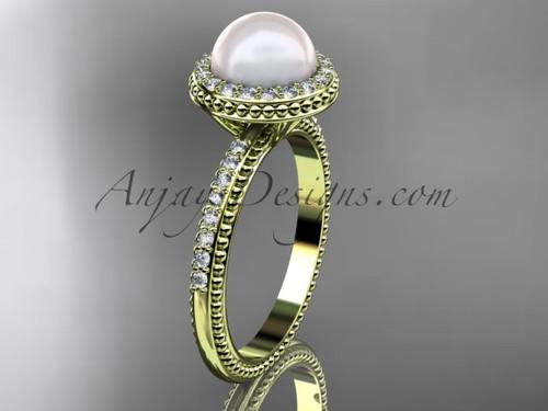 Vintage Pearl Engagement Rings Yellow Gold Wedding Ring AP95