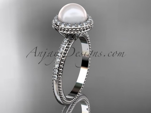 Antique Pearl Engagement Rings Platinum Wedding Ring AP95