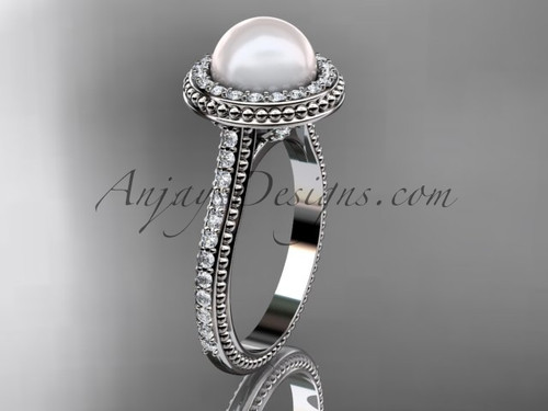 14k white gold diamond pearl vine and leaf engagement ring AP97