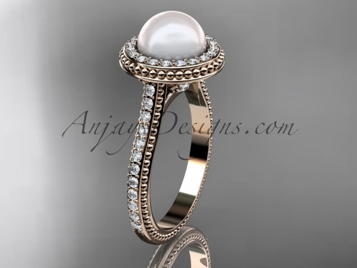14k rose gold diamond pearl vine and leaf engagement ring AP97