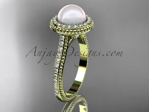 14k yellow gold diamond pearl vine and leaf engagement ring AP97