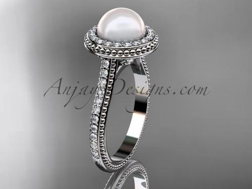 Platinum diamond pearl vine and leaf engagement ring AP97