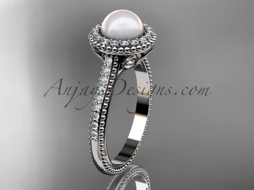 14k white gold diamond pearl engagement ring AP101