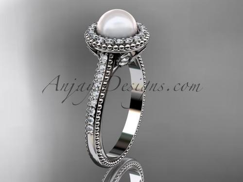 14k white gold diamond pearl engagement ring AP101