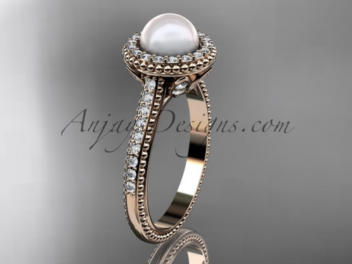 14k rose gold diamond pearl engagement ring AP101
