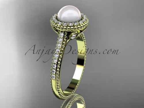 14k yellow gold diamond pearl engagement ring AP101