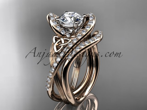 """14kt rose gold diamond celtic trinity knot wedding ring, engagement set with a """"Forever One"""" Moissanite center stone CT7369S"""