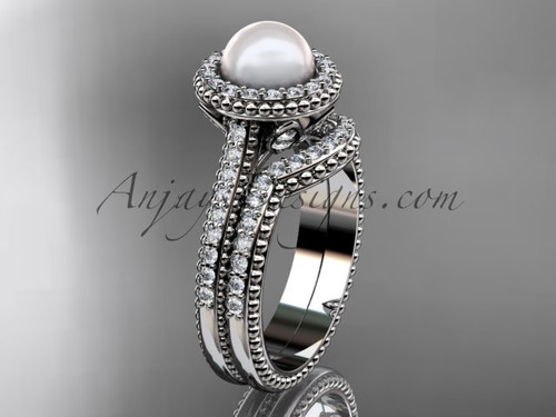 14k white gold diamond pearl engagement set AP101S