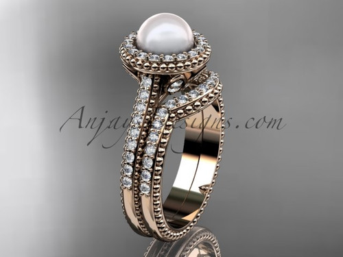 14k rose gold diamond pearl engagement set AP101S