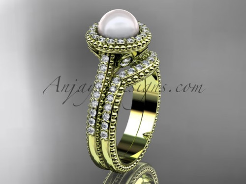 14k yellow gold diamond pearl engagement set AP101S