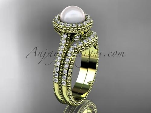 14k yellow gold diamond pearl engagement set AP101S