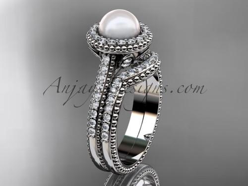 Platinum diamond pearl engagement set AP101S