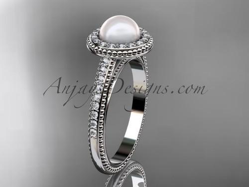 14kt white gold diamond floral wedding ring, engagement ring AP104