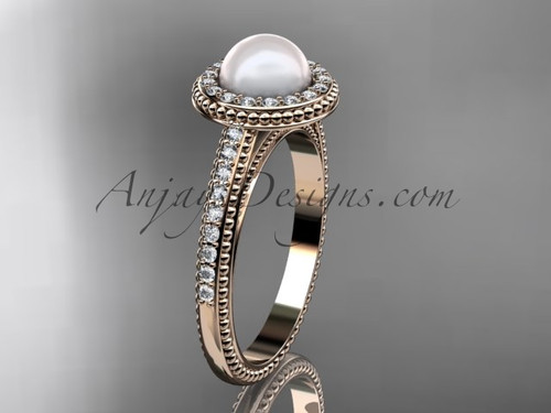 14kt rose gold diamond floral wedding ring, engagement ring AP104