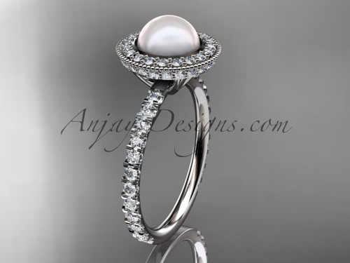 14k white gold diamond pearl vine and leaf engagement ring AP106