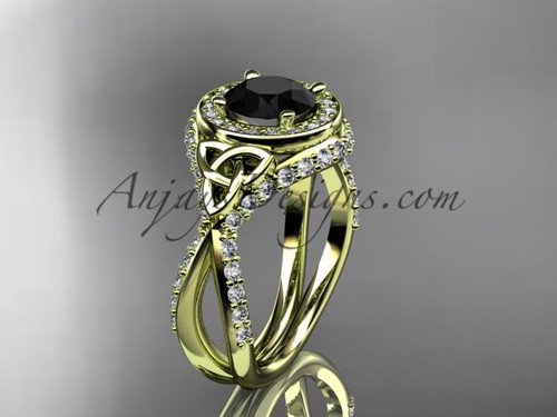 14kt yellow gold diamond celtic trinity knot wedding ring, engagement ring with a Black Diamond center stone CT7416