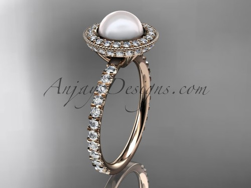 14k rose gold diamond pearl vine and leaf engagement ring AP106