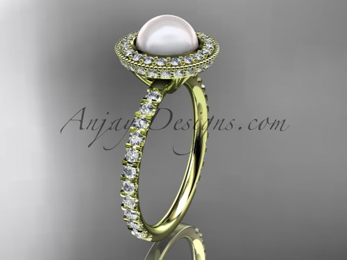 14k yellow gold diamond pearl vine and leaf engagement ring AP106