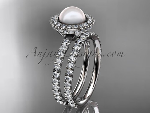 14k white gold diamond pearl vine and leaf engagement set AP106S