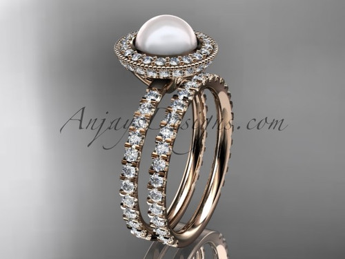 14k rose gold diamond pearl vine and leaf engagement set AP106S