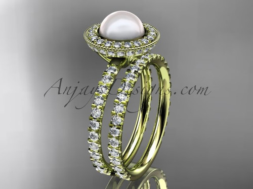 14k yellow gold diamond pearl vine and leaf engagement set AP106S