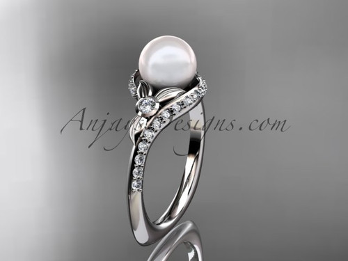 14k white gold diamond pearl vine and leaf engagement ring AP112