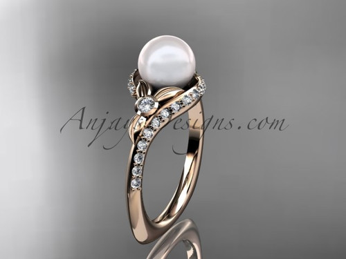14k rose gold diamond pearl vine and leaf engagement ring AP112