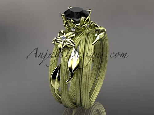 14kt yellow gold diamond floral, leaf and vine wedding ring, engagement set with a Black Diamond center stone ADLR253S