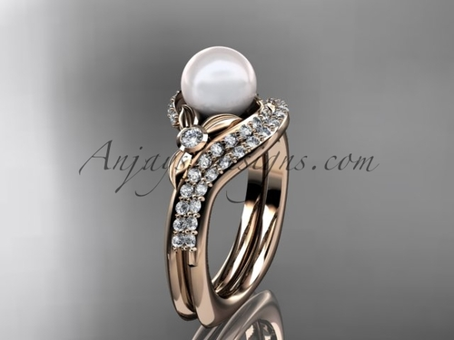 14k rose gold diamond pearl vine and leaf engagement set AP112S