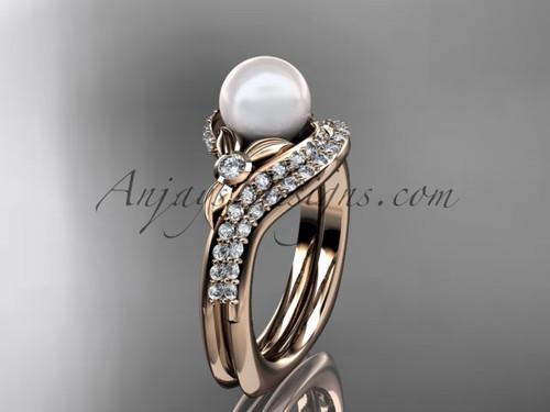 14k rose gold diamond pearl vine and leaf engagement set AP112S