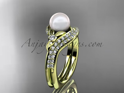 14k yellow gold diamond pearl vine and leaf engagement set AP112S