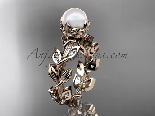 14k rose gold diamond pearl vine and leaf engagement ring AP124