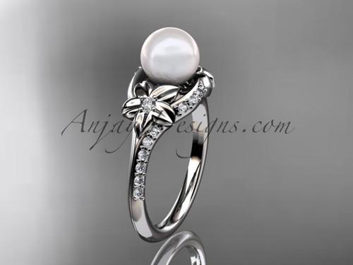 14kt white gold diamond floral wedding ring, engagement ring AP125