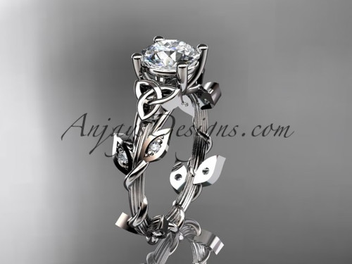 14kt white gold diamond celtic trinity knot wedding ring, engagement ring CT7215