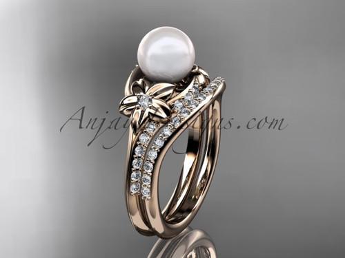 14kt rose gold diamond floral wedding set, engagement set AP125S