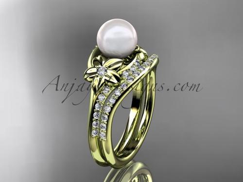 14kt yellow gold diamond floral wedding set, engagement set AP125S