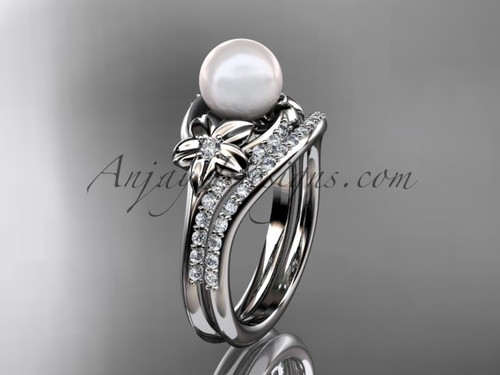 Platinum diamond floral wedding set, engagement set AP125S